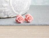 Blush Pink Rose Stud Earrings Flower Earrings Little Rose Earrings Surgical Steel Posts Nickel Free Gift for Girlfriend Stocking Stuffers