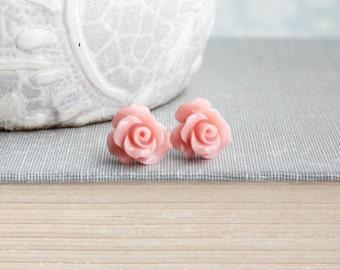 Dark Blush Pink Rose Stud Earrings Flower Earrings Little Rose Earrings Surgical Steel Posts Nickel Free Gift for Girlfriend Summer Jewelry