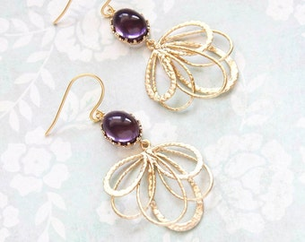 Dark Purple Glass Earrings Gold Filigree Earrings Long Dangle Pretty Modern Gold Feather Bridesmaid Gift for Women Nickel Free Amethyst
