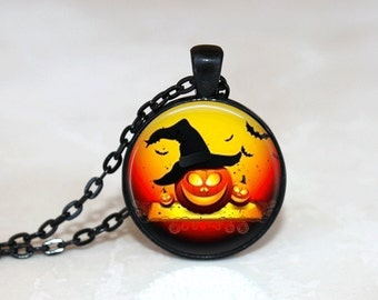 Halloween Necklace GlassTile Necklace Black Necklace Glass Tile Jewelry Halloween Jewelry Pumpkin Jewelry Holiday Jewelry Black Jewelry