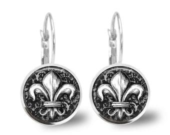 Tile Earrings Fleur de Lis Earrings Tile Jewelry Fleur de Lis Jewelry Black and White Beaded Jewelry Silver Jewelry Brass Jewelry