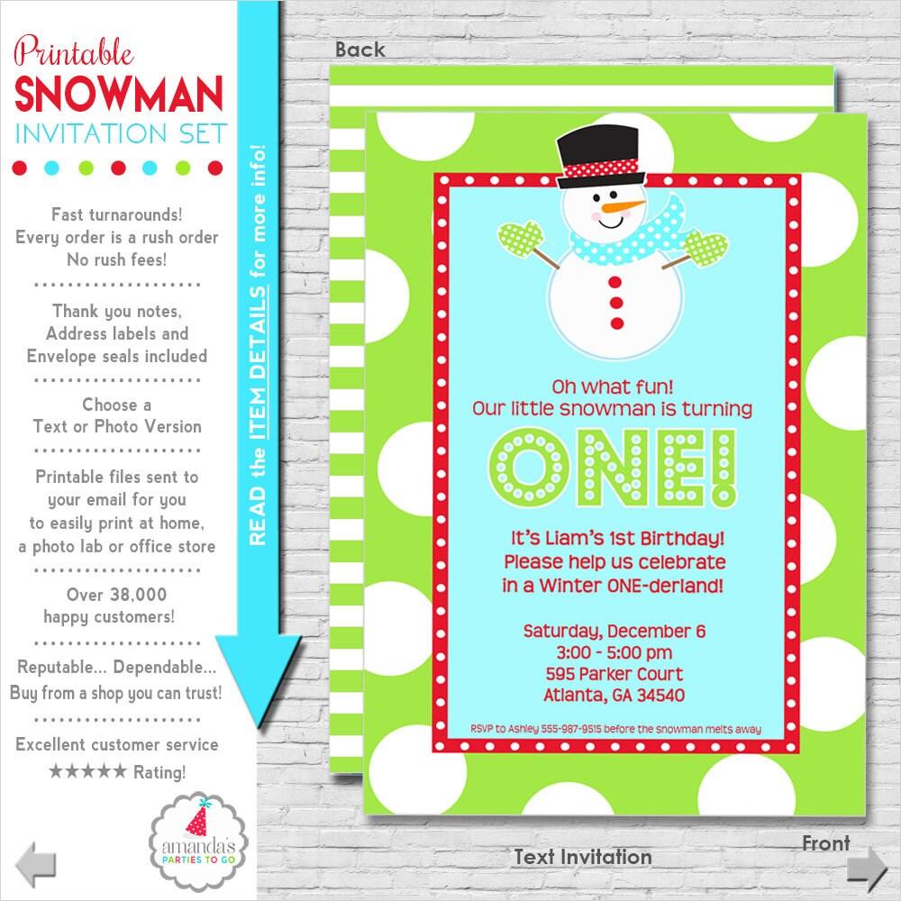 Winter ONEderland Invitation Winter ONEderland Snowman Party – Snowman Birthday Invitations