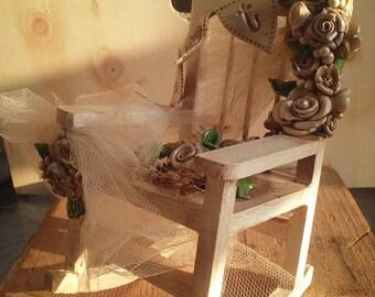 Shabby chic rocking chair. Vintage accent. Nostalgic rocking chair.