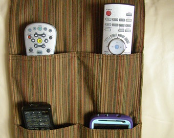 TV Remote Control Organizer Caddy 4 pocket Brown Multi-Stripe Upholstery
