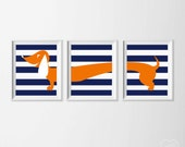 Boy Nursery Art , Dachshund Wall Art , Doxie Nursery Art , Weiner Wall Art , Navy Orange Nursery Art , Dachshund Artwork Big Boy Room Art