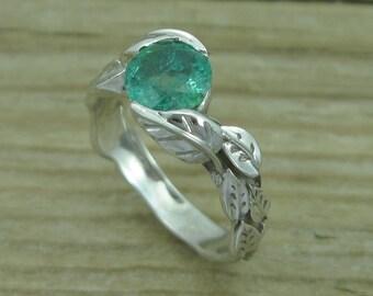 Emerald Engagement Ring, Emerald Leaf Ring, Emerald Leaf Engagement Ring, Emerald Leaf Wedding Ring, Antique Emerald Ring, 14k Emerald Ring