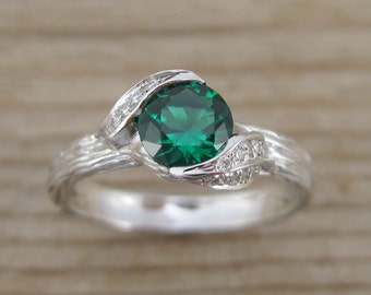 Leaf Engagement Ring, Emerald Engagement Ring, Twig Leaves Emerald Ring, Wood Engagement Ring, Emerald Ring, White Gold Bark Engagement Ring