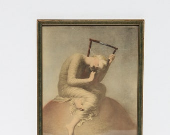 Vintage Hope By George Frederick Watts Framed Reinthal & Newman, N.Y. Print Lithograph Victorian Circa 1886 Blindfolded Lady With Lyre