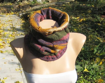 Multicolor Knit Cowl Neck Warmer, Women Lace Neck Collar, Wool Acrylic Gold Green Purple Scarf, Fall Winter Accessories, Christmas Gift idea