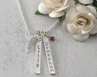 Mother's Jewelry - Personalized Necklace - Two Rectangle Tags - Double Sided - birthstone and angel wing