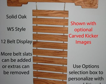 Solid Oak WS Style Martial Arts Rank Belt Display Rack with Shelf for Trophies, holds 12 belts but can add or subtract any number.