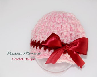 Girl Valentine Hat, Newborn Girl Photo Prop, Hat with Bow, Photography Prop, Valentines Day, Crochet Beanie, Pink, Baby Hat,Infant