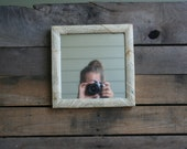 Vintage Square Wooden Framed Mirror Covered with Book Pages - Shabby Chic Mirror