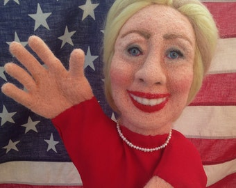 Needle Felted Hillary Rodham Clinton Puppet