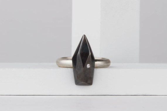 Long Fragment Ring in Sterling Silver with Diamond - Faceted Silver Ring - Statement Ring - Silver and Diamond Ring