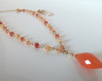 Mexican Fire Opal Natural Gemstone Handmade Necklace Wire Wrapped with  14kt Gold Filll Necklace