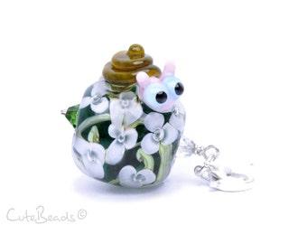 Lampwork Charm Snail, Silver 925