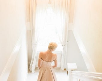 Hi Low Wedding Dress, Off Shoulder, Champagne Satin, THREE LITTLE WORDS, Ivory, White, Colors