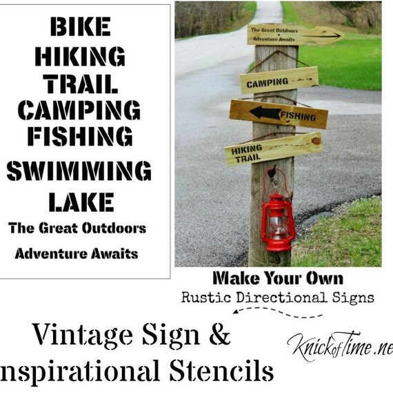 The Great Outdoors Stencil Make Your Own Signs By Knickoftime