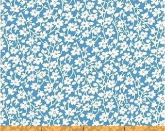 Mono Floral in Blue 41871-2 - FEEDSACK  by Windham Fabrics - By the Yard