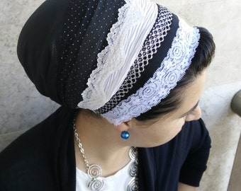 Fancy Black & silver ,Jewish Tichel,cover your hair,wrap around mitpachat,and tie in the back, hair covering formal