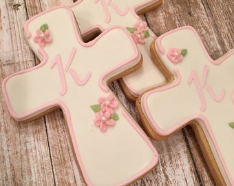 Pink Baptism Favors for Girls, Personalized Cross Cookie Favors for Communion, Confirmation - 1 dozen