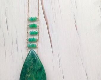 Jade Necklace Jade Pendant Necklace Chrysoprase Jewelry Gemstone Jewelry ONE OF A KIND