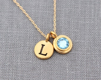 Gold Personalized Necklace, Initial, Gold Aquamarine Jewelry, Mothers Day Necklace, Gold Aquamarine Necklace