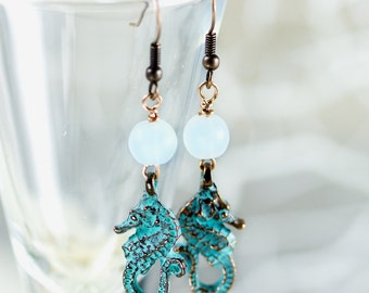 Seahorse Earrings, Beach Earrings, Sea glass Earrings, Seaglass Jewelry, Dangle Earrings, Ocean jewelry, Patina, Beaded Earrings