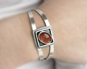 Sterling Silver Cuff Bracelet with Sunstone in a Modern Geometric Design - Handmade