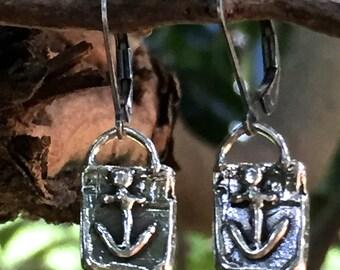 Breezy Sail Away Sterling Silver Earrings - Artisan Anchor Earring Dangles - ER4