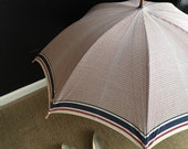 vintage 1950s large checkered linen umbrella with wood handle