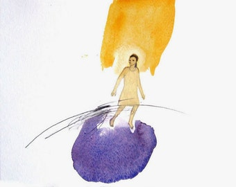 woman running painting watercolor original figurative drawing people Escape