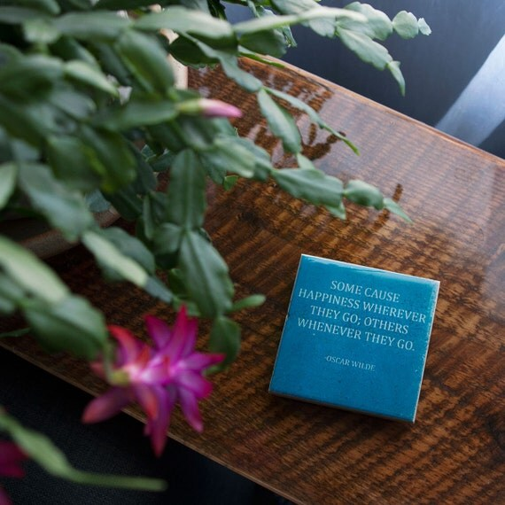 Oscar wilde happiness quote coaster 1 blue stone coaster for Art and decoration oscar wilde