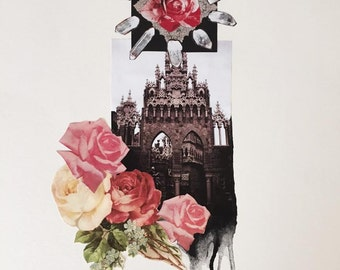 CHURCH & ROSES - art greeting card- print of original art collage by Annie Montgomery