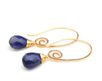 Dark Blue Iolite Earrings, Luxe AAA Iolite Drop Earrings, Gold Spiral Threader Earrings, Blue Iolite Dangles