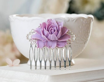 Lavender Wedding Hair Comb Lavender Lilac Silver Bridal Hair Comb Vintage Style Floral Hair Accessory Flower Hairpiece Country Wedding