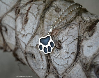 Cat Paw or Dog Paw Pendant, Necklace in Sterling Silver, Oxidized, Blackened, Handmade