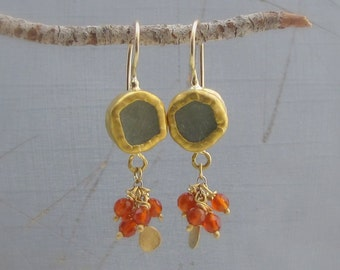 Fluorite and Carnelian Gold Earrings - 24k Gold Earrings - Dangle Gold Earrings