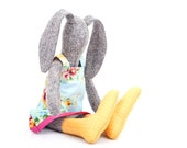 Spring Easter basket toy Stuffed bunny doll, gray knitted silk rabbit doll ,Floral pastel dress& yellow dotted socks - timohandmade eco doll