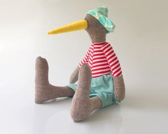Stuffed Animal , brown linen bird doll - plush duck doll in yellow beak red stripes shirt & mint blue corduroy, dotted hat - handmade doll