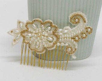 Bridal lace hair piece, bridal pearl hair piece, bridal pearl hair comb, bridal gold hair piece, gold bridal hair comb,pearl bridal haircomb