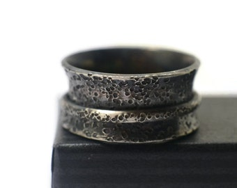 Distressed Silver Ring, Spinner Rings for Men, Industrial Rugged Spinning Ring, Oxidized Silver Jewelry, Meditation Ring