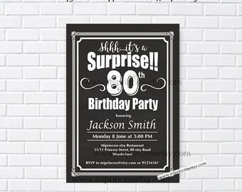 Surprise invitation, Birthday Invitation, chalkboard invitation, 30th 40th 50th 60th 70th 80th 90th birthday invitation black -  card 975