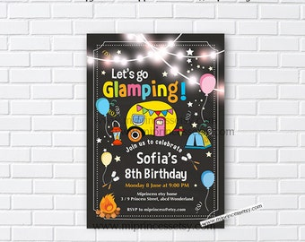 Glamping invitation, Bonfire Birthday Invitation, Campfire , Campout Birthday Invitation, camping bonfire party, 8th 9th 10th  any age - 988