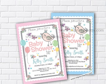 Bird Baby Shower, birdie Invitation, girl is on the way, baby girl invite Boy Shower Invite party Invitation - card 556