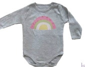 Rainbow  Onesie - Baby Girl Clothing - Colorful Rainbow on Grey Bodysuit