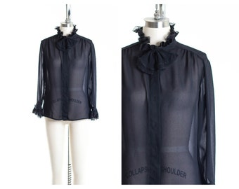Vtg Classy Bow  Frill Collar  Blouse size S/M