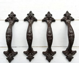 Drawer Pulls, Rustic, Shabby Chic Cast Iron Drawer Pull ,In Espresso Brown , Cabinet Door, Dresser Drawer, Decorative Drawer Pull