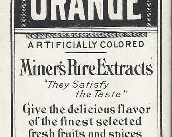 Miner's Orange Extract Vintage Bottle Label, 1910s